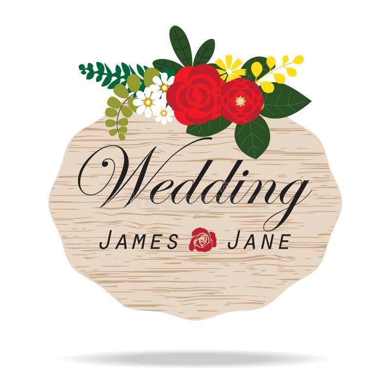 Etichetta d'annata dell'invito di nozze, fondo di disposizioni dei fiori illustrazione di stock