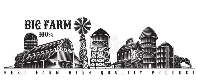 Etichetta d'annata di retro stile del fabbricato agricolo del mulino a vento, del granaio e dell'agricoltore isolata su bianco illustrazione vettoriale