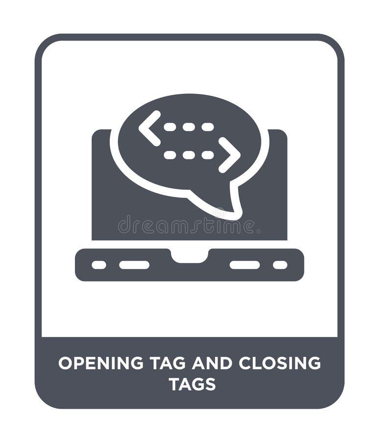 etichetta d'apertura ed icona di chiusura delle etichette nello stile d'avanguardia di progettazione etichetta d'apertura ed icon illustrazione di stock