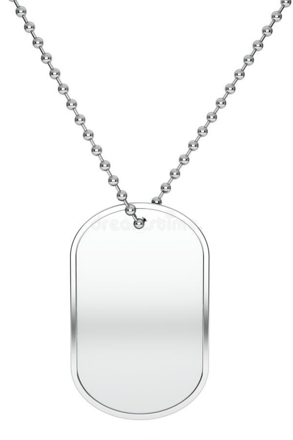 Etichetta d'argento di identità dell'esercito rappresentazione 3d illustrazione di stock