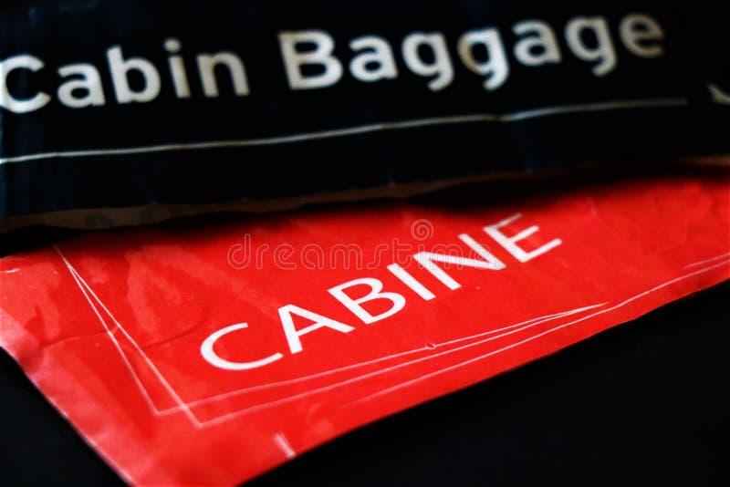 Etichetta del bagaglio di cabina Concetto della corsa fotografie stock