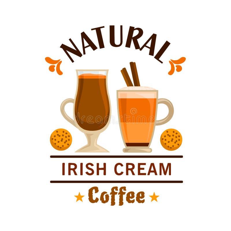 Etichetta del caffè Progettazione crema irlandese dell'elemento royalty illustrazione gratis
