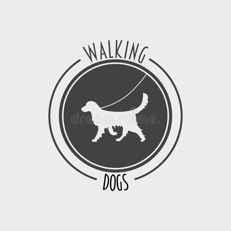 Etichetta del cane, logo o concetto di progetto di camminata di simbolo con la siluetta del cane di golden retriever illustrazione di stock