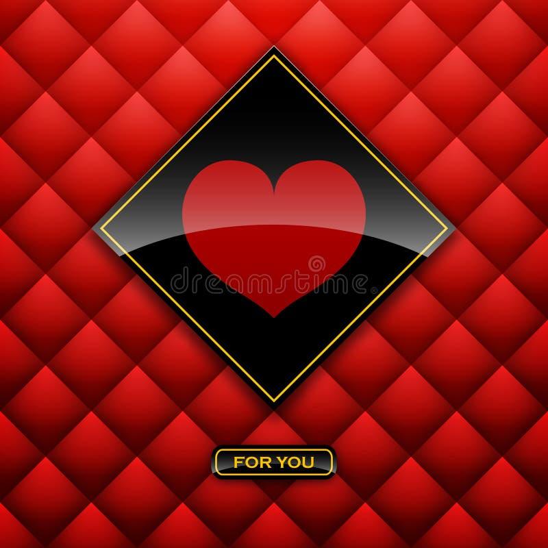 Etichetta del cuore dal fondo di carta ENV 10 della carta di giorno di biglietti di S. Valentino illustrazione di stock