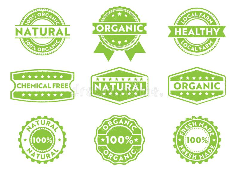 Etichetta del distintivo del bollo di vettore per la vendita commercializzante organica, fatta naturale e fresca, prodotto chimic illustrazione vettoriale