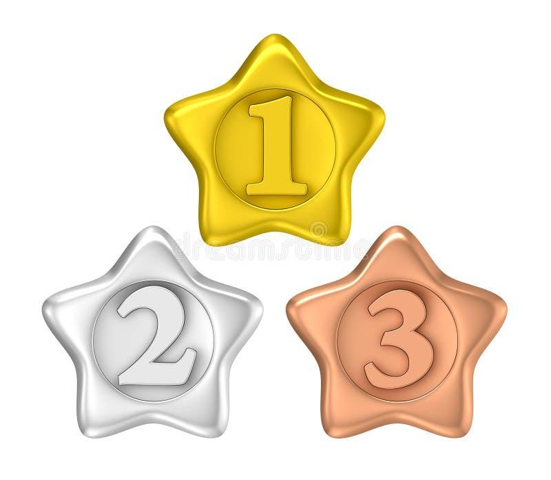 Etichetta del distintivo del vincitore del premio di forma della stella illustrazione vettoriale