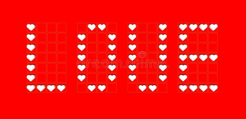 Etichetta del fondo di amore con i cuori rossi royalty illustrazione gratis