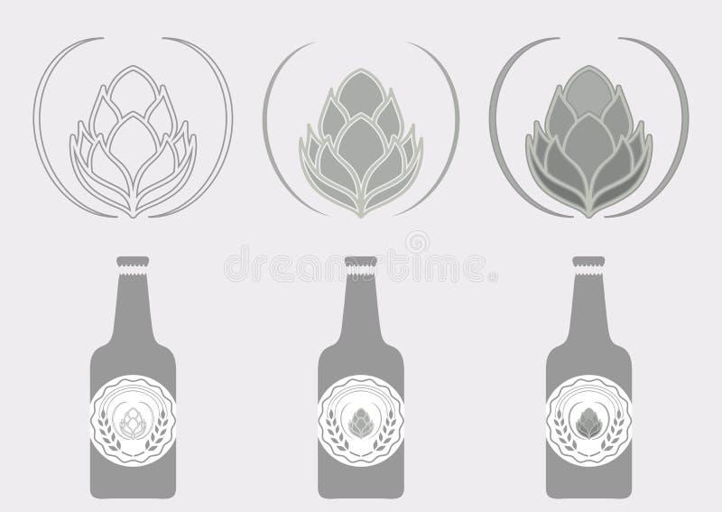 Etichetta del luppolo della birra del segno immagini stock