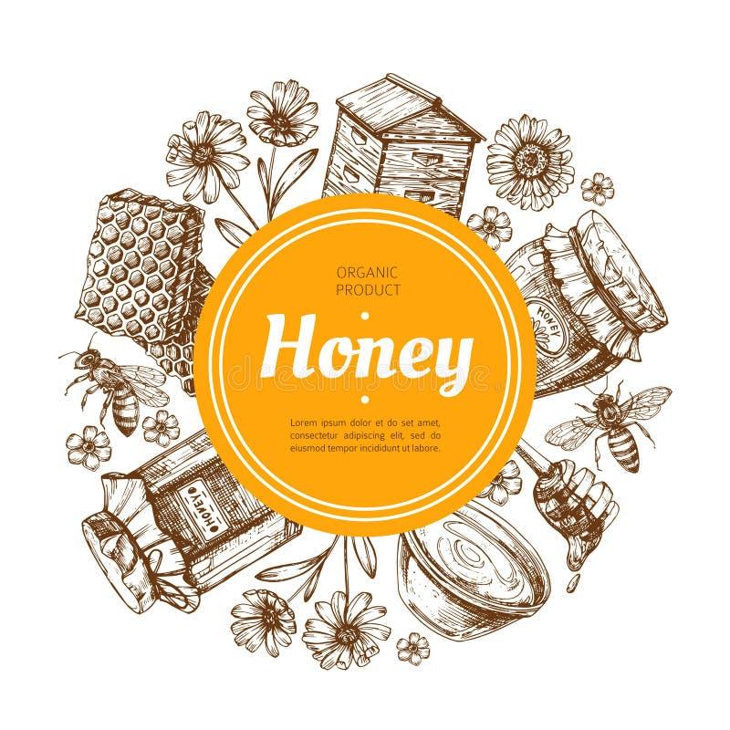 Etichetta del miele Distintivo naturale del miele dell'azienda agricola con l'ape ed il favo Illustrazione disegnata a mano d'ann illustrazione di stock