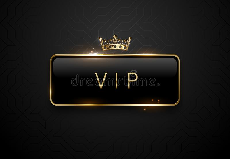 Etichetta del nero di VIP con le scintille dorate della struttura e corona su fondo nero Modello premio scuro Illustrazione di ve royalty illustrazione gratis