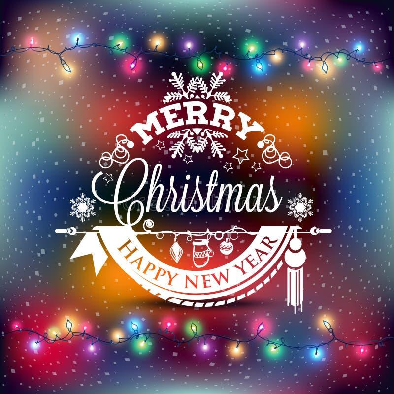 Etichetta del nuovo anno e di Natale con le luci colorate sugli ambiti di provenienza illustrazione vettoriale