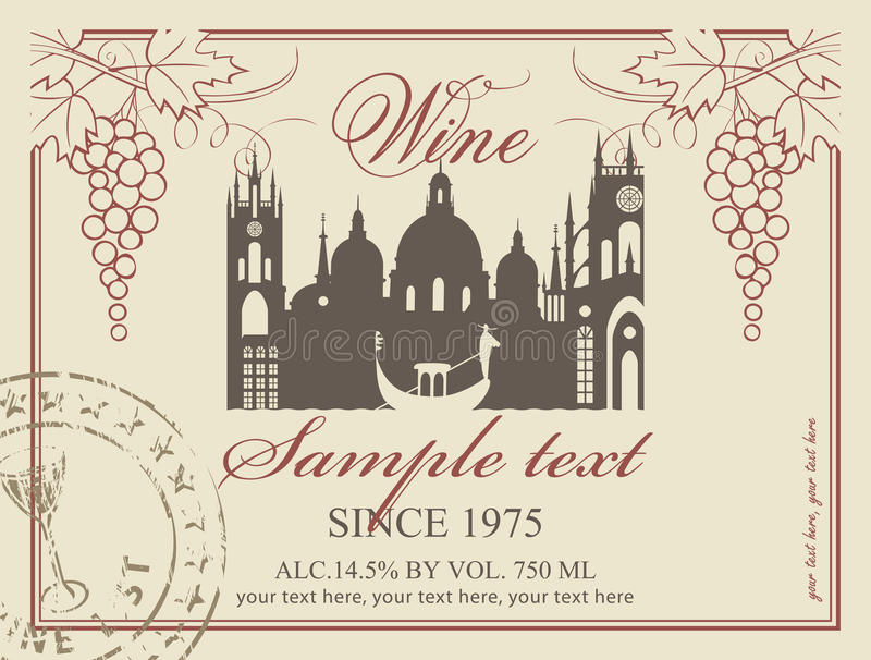 Etichetta Del Vino Fotografia Stock Libera da Diritti