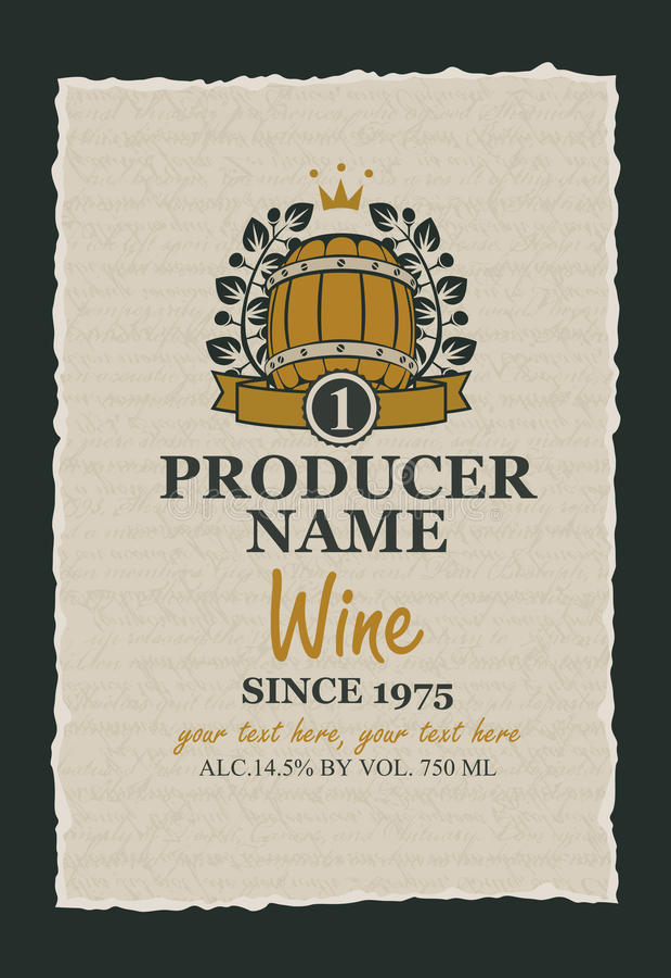 Etichetta del vino con un barilotto di legno illustrazione di stock