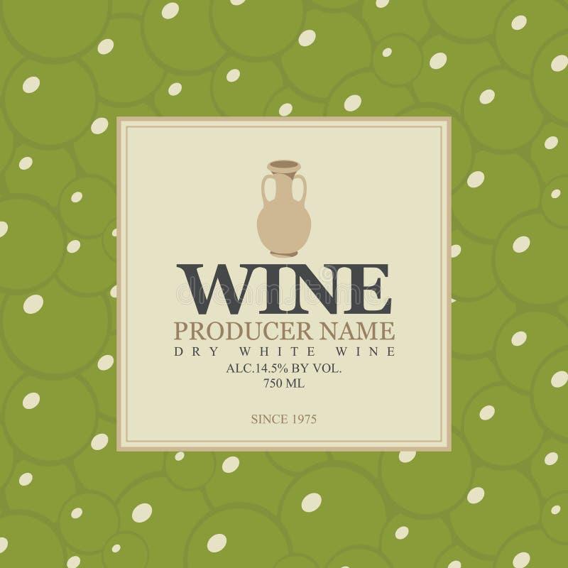 Etichetta del vino con una brocca dell'argilla royalty illustrazione gratis