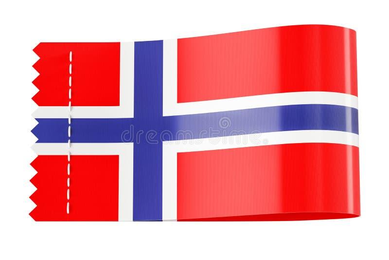 Etichetta dell'abbigliamento, etichetta con la bandiera della Norvegia rappresentazione 3d illustrazione vettoriale