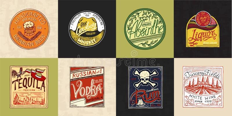 Etichetta dell'alcool con gli elementi calligrafici Distintivo americano d'annata Whiskey del vino del rum del liquore della vodk illustrazione vettoriale