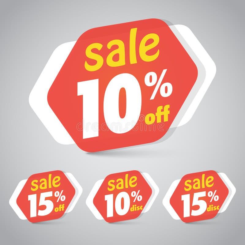 Etichetta dell'autoadesivo di vendita per la commercializzazione della progettazione al minuto dell'elemento illustrazione di stock