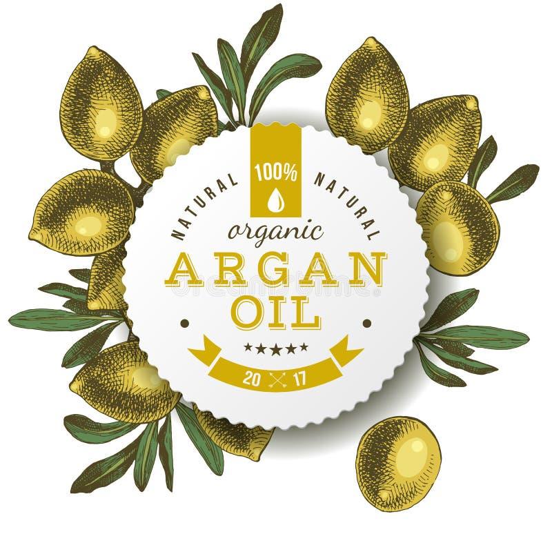 Etichetta dell'olio di argan con i dadi disegnati a mano fotografia stock libera da diritti