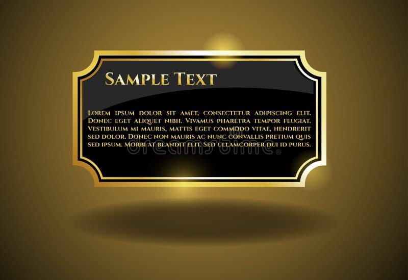 Etichetta dell'oro con il testo del campione royalty illustrazione gratis