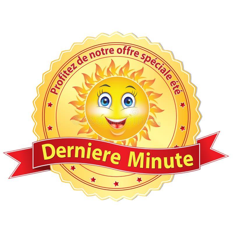 Etichetta dell'ultimo minuto francese di pubblicità; royalty illustrazione gratis