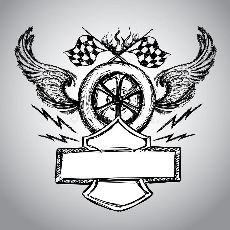Etichetta della bici del motociclo illustrazione di stock