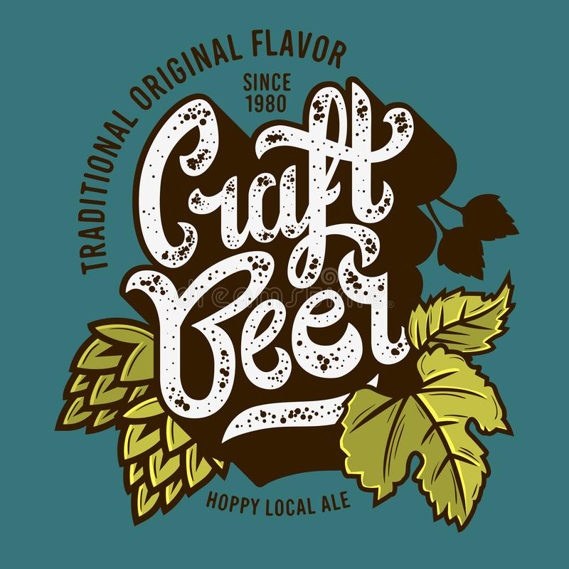 Etichetta della birra del mestiere con le foglie e l'illustrazione di luppolo Grafico di vettore illustrazione vettoriale