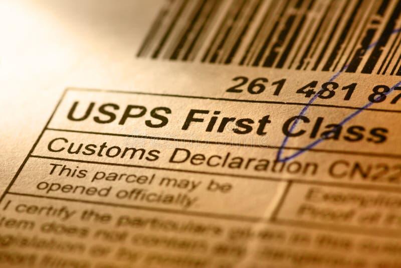 Etichetta della busta della posta immagini stock libere da diritti