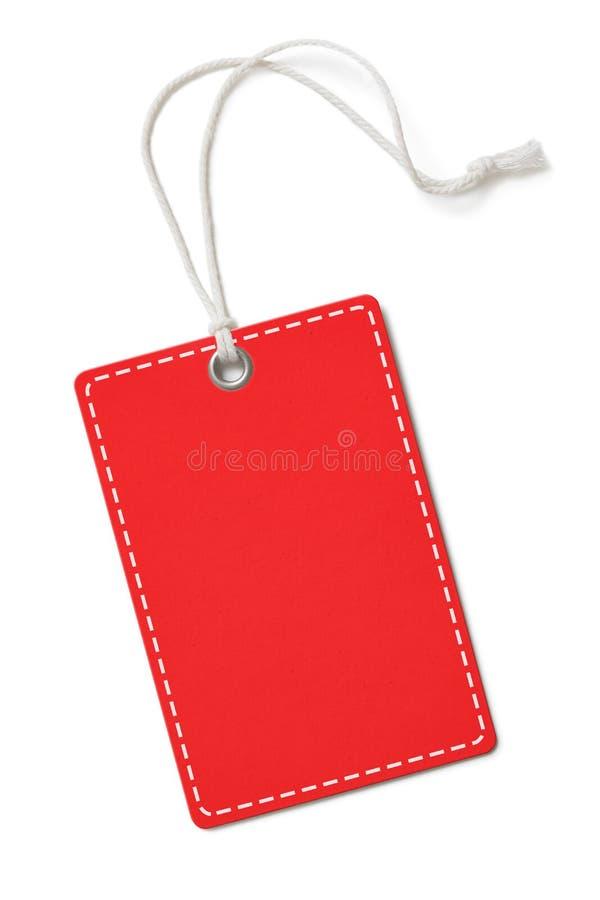 Etichetta della carta dello spazio in bianco o rettangolo rossa dell'etichetta del panno con gli angoli rotondi isolati fotografie stock libere da diritti