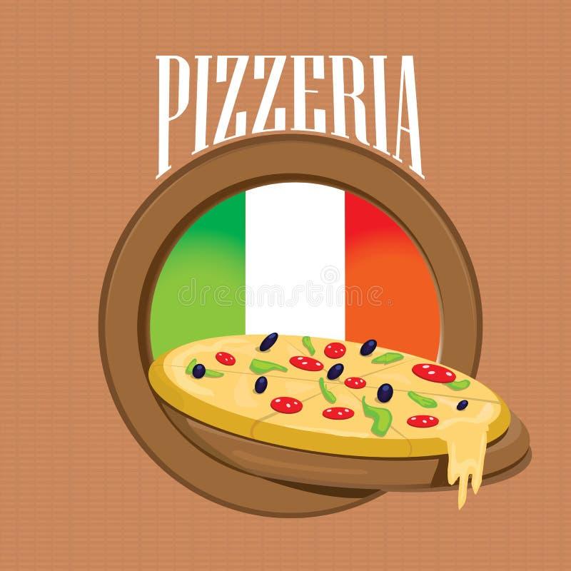 Etichetta della pizza o manifesto - modello di progettazione illustrazione vettoriale