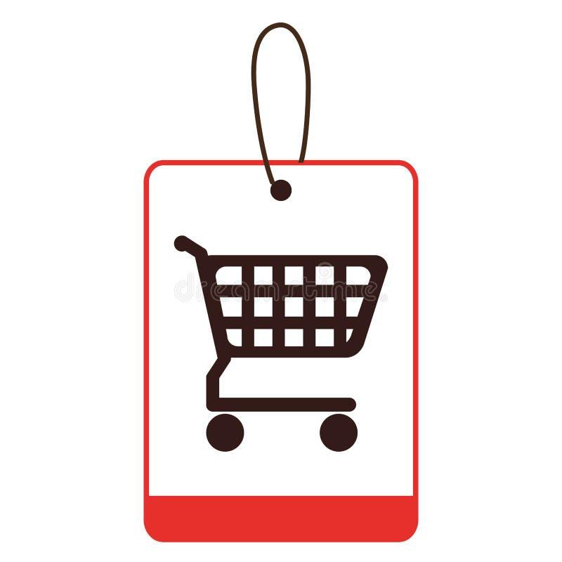 Etichetta della siluetta di colore con il carrello illustrazione di stock
