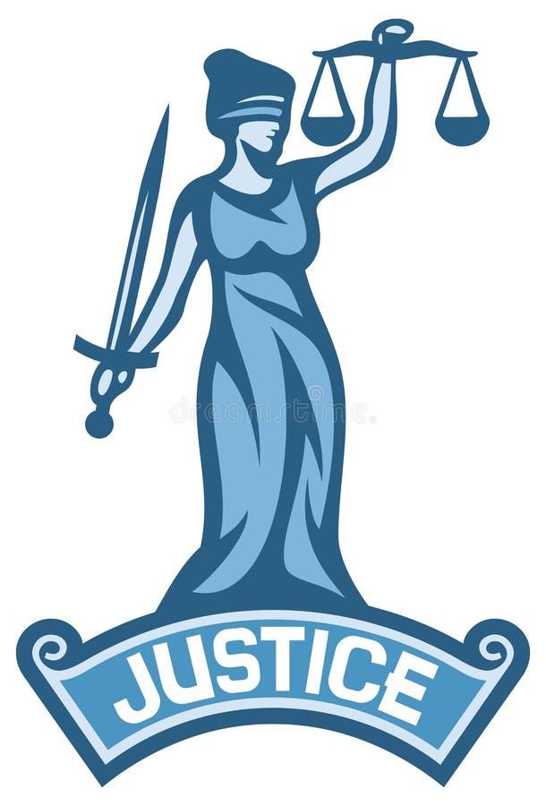 Etichetta della statua della giustizia illustrazione di stock