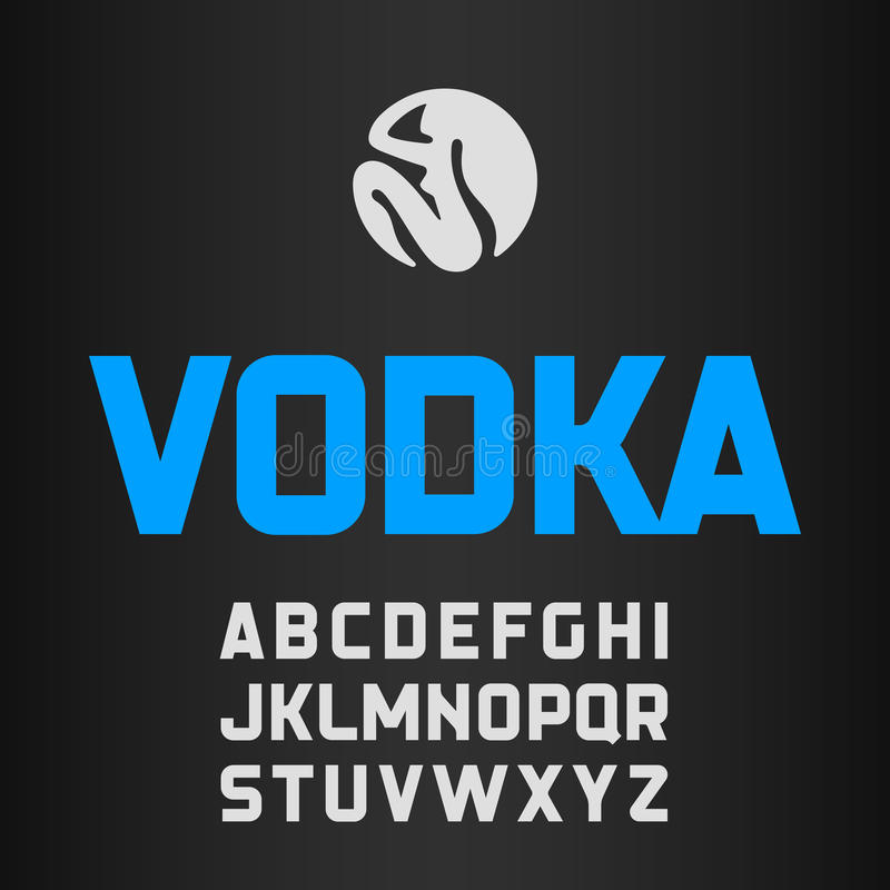 Etichetta della vodka, fonte moderna di stile illustrazione vettoriale