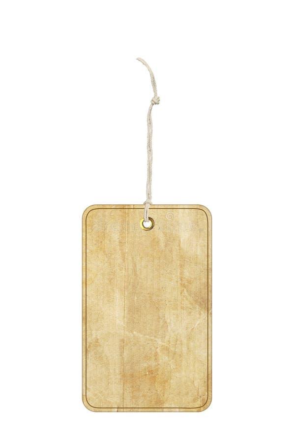 Etichetta di carta con il gommino di protezione del metallo isolato su bianco fotografie stock
