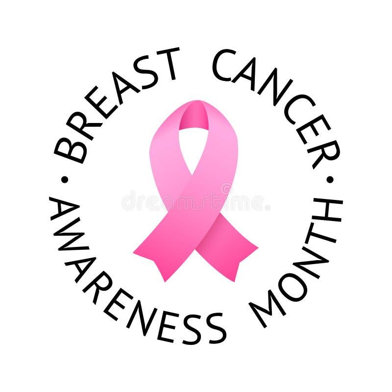 Etichetta di consapevolezza del cancro al seno Vettore Tamplate con il nastro rosa - simbolo della lotta del Cancro royalty illustrazione gratis