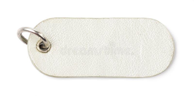 Etichetta di cuoio d'argento dell'etichetta fotografie stock libere da diritti