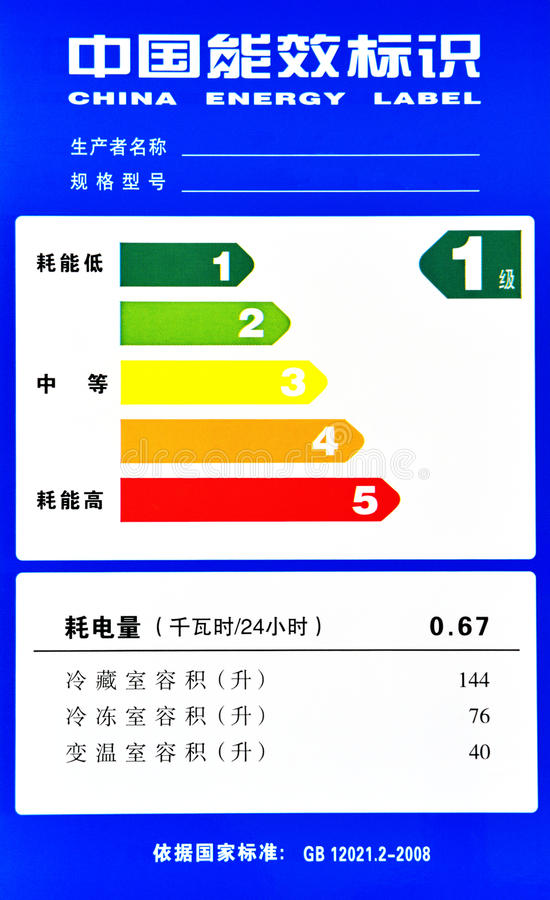 Etichetta di energia della Cina immagine stock libera da diritti