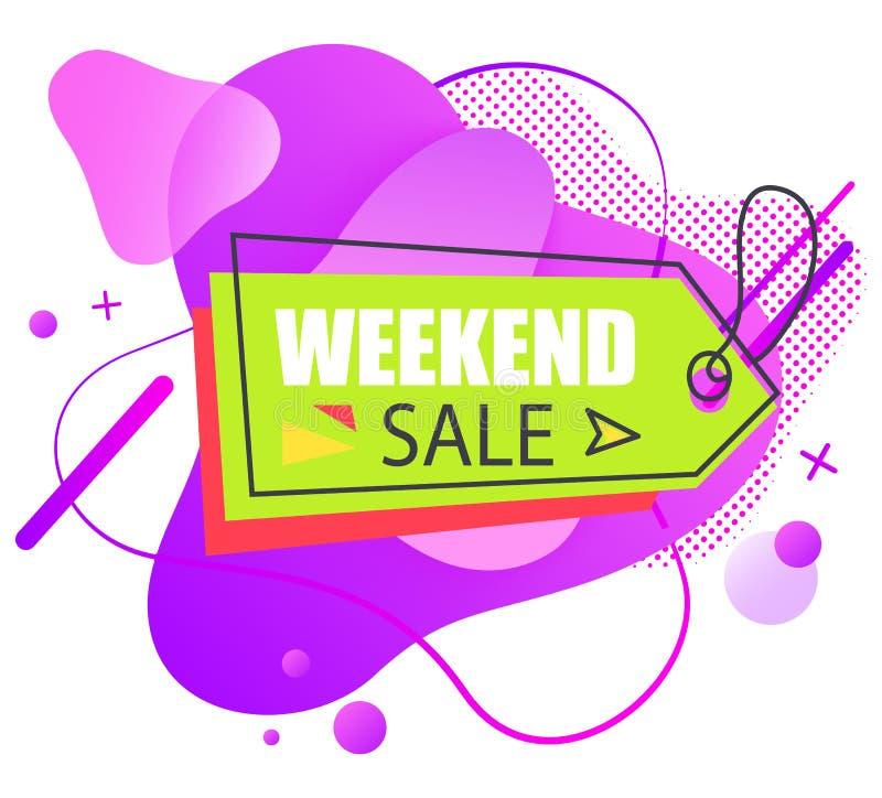 Etichetta di festa, etichetta di vendita di fine settimana, vettore al minuto illustrazione di stock