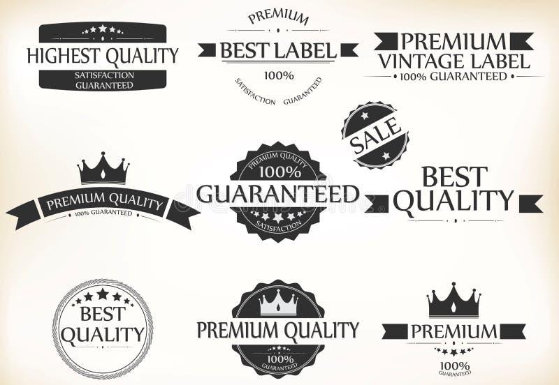 Etichetta di garanzia di soddisfazione ed insieme premio di qualità dell'annata royalty illustrazione gratis