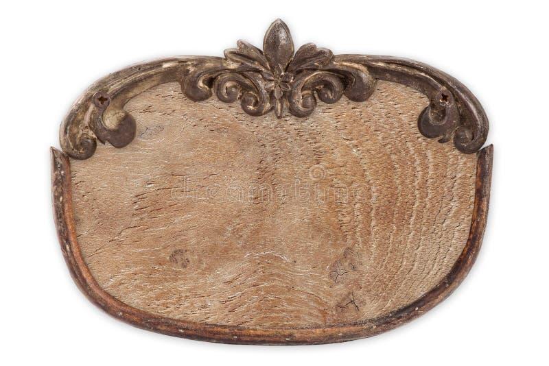 Etichetta di legno in bianco con la scultura immagine stock libera da diritti