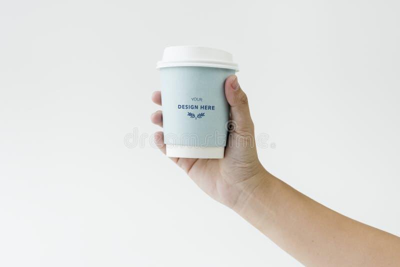 Etichetta di logo del modello della tazza di caffè fotografie stock libere da diritti