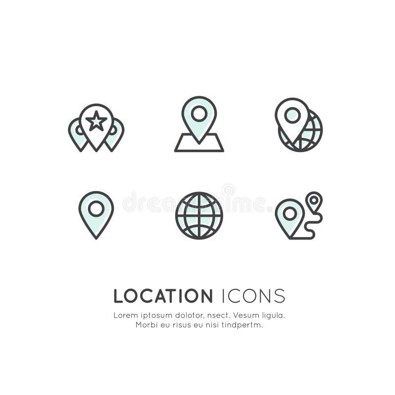 Etichetta di posizione di Geo, vendita di prossimità, collegamento di rete globale, identificazione di posizione illustrazione di stock