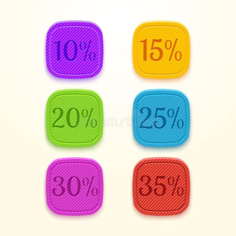 Etichetta di prezzo di vendita dell'autoadesivo delle percentuali di sconto illustrazione di stock