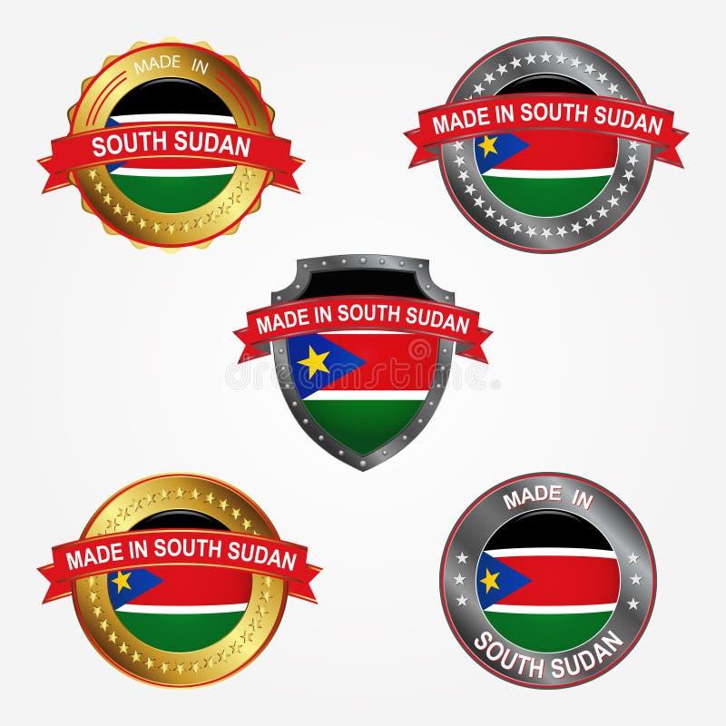 Etichetta di progettazione del fatto di nel Sudan del sud Illustrazione di vettore illustrazione vettoriale