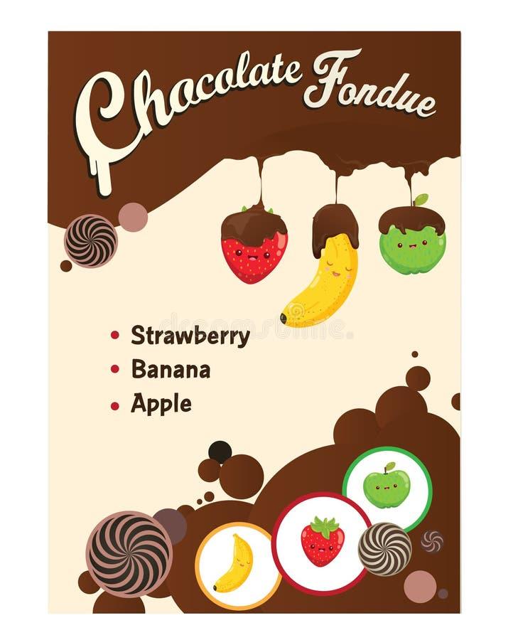 Etichetta di progettazione dell'illustrazione della fonduta di cioccolato fotografia stock libera da diritti