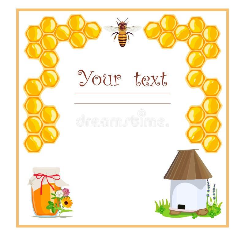 Etichetta di promo con le api ed il favo Prodotti di apicoltura Illustrazione di vettore illustrazione vettoriale