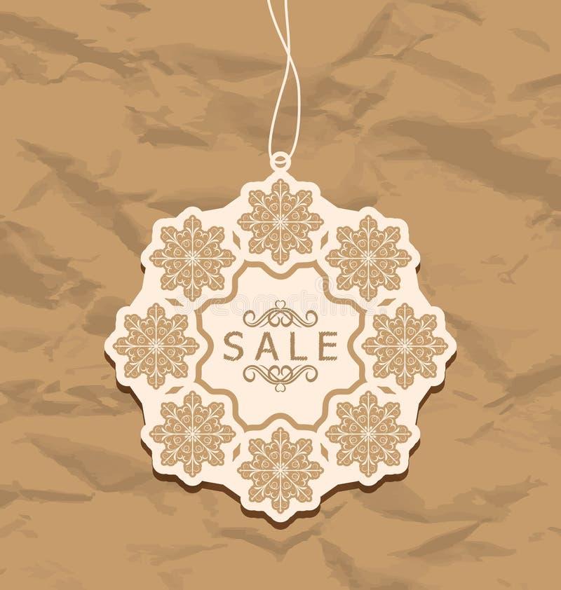 Etichetta di sconto di Natale, stile d'annata illustrazione di stock