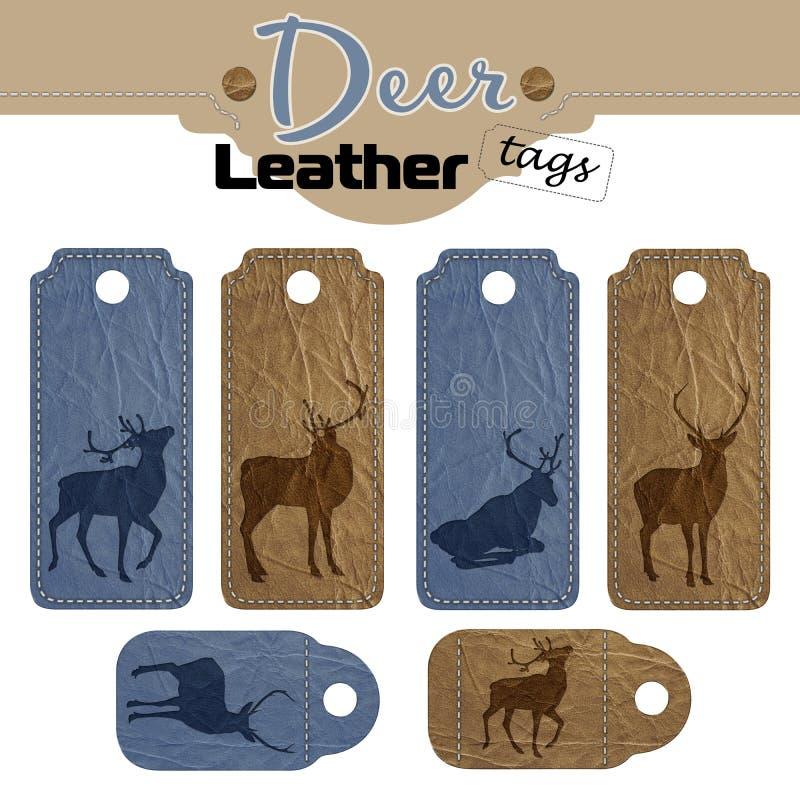 Etichetta di Seth di cuoio blu e marrone con l'immagine di un cervo Isolato su priorità bassa bianca royalty illustrazione gratis