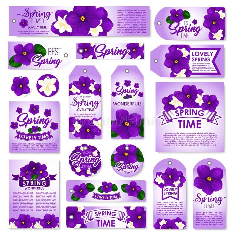 Etichetta di stagione primaverile, etichetta ed insieme di carta floreali illustrazione di stock