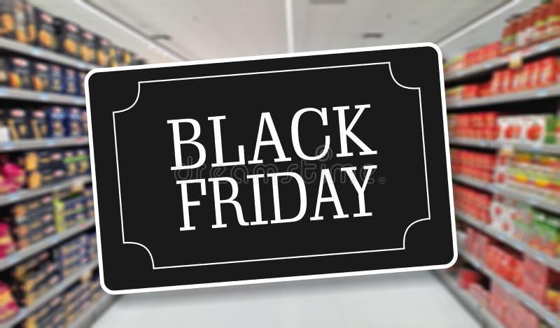 Etichetta di vendita di Black Friday, fondo della drogheria della sfuocatura royalty illustrazione gratis