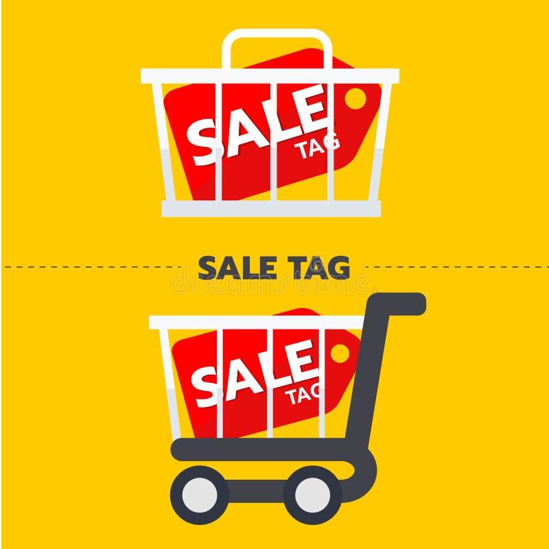 Etichetta di vendita con l'etichetta di promozione del carretto e del canestro Concetto online di acquisto royalty illustrazione gratis
